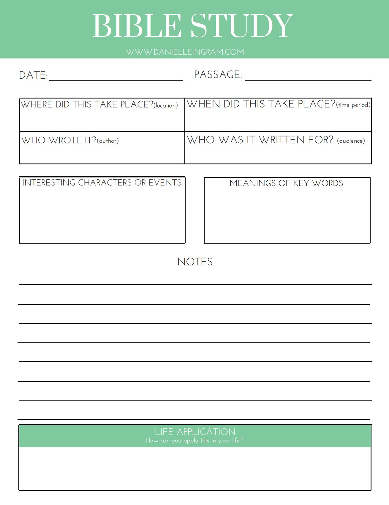 Bible Activity Worksheet Character