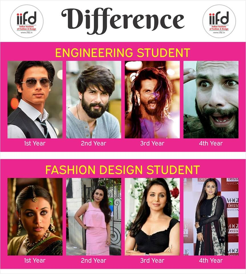 Difference Between Engineering Students And Fashion Design Students Visit Www Iifd In Fashion Designing Course Fashion Designing Institute Design Student