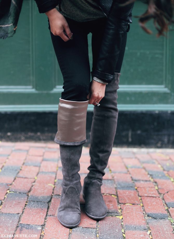 1a7e14c5ed5 ExtraPetite.com - Fall casual layers Stuart Weitzman Lowland boots review