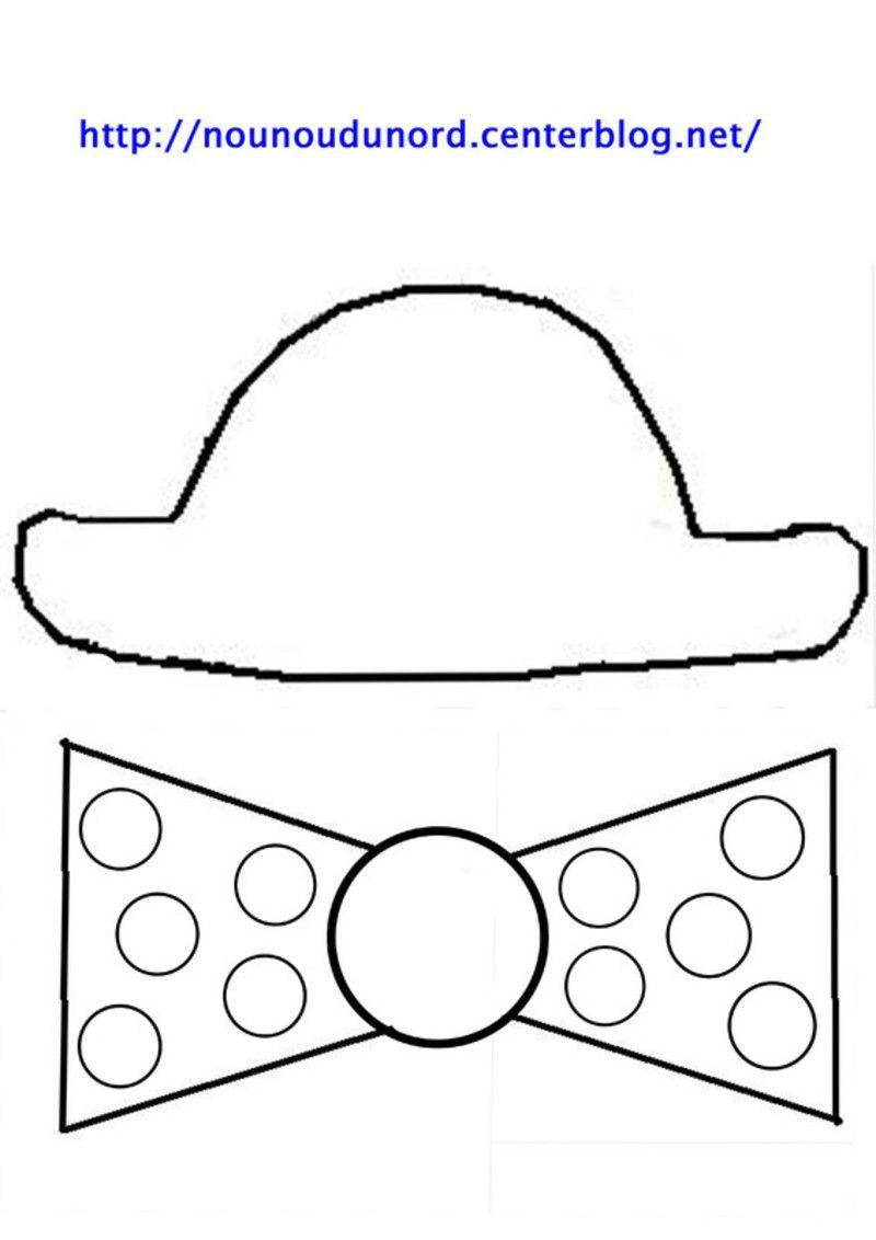 Masque t te de clown chapeau et noeud imprimer les - Masque de carnaval a imprimer ...