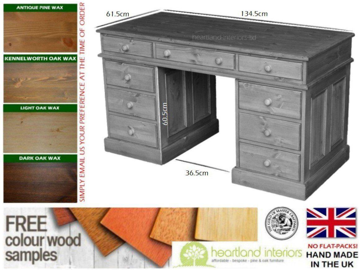 Furniture To Go Twin Pedestal Desk Dark Stained Pine
