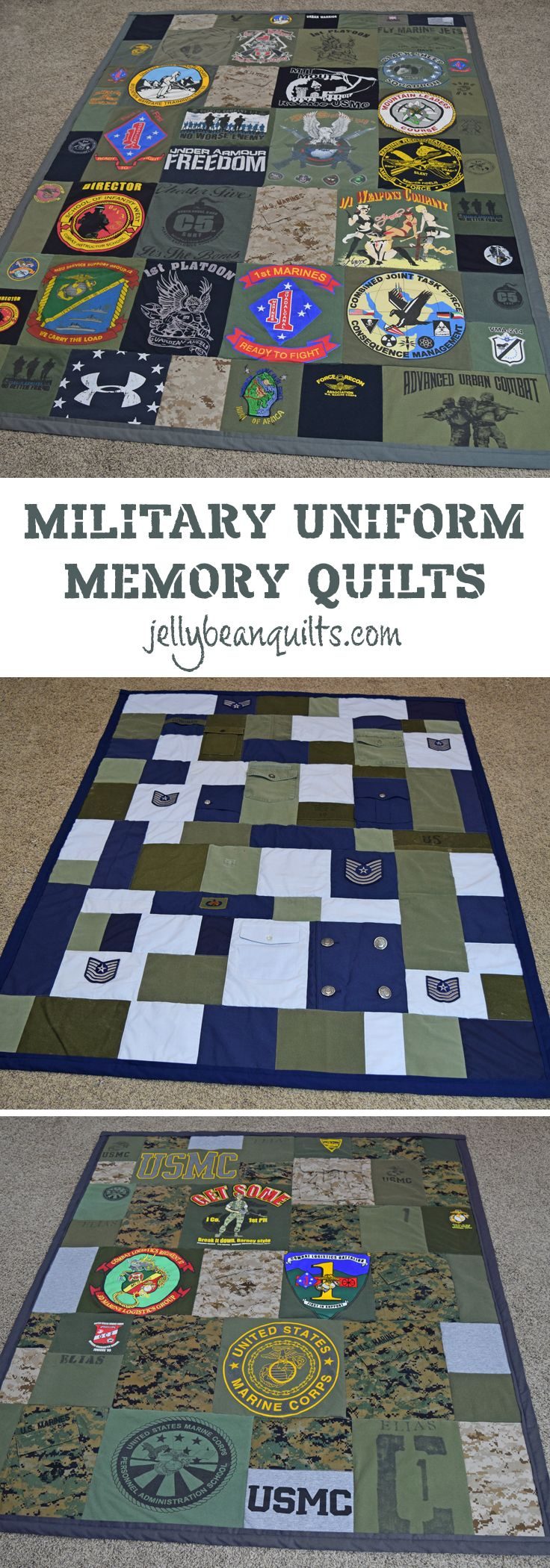 Love this idea - military memory quilt! Military quilt made with old uniforms & t-shirts from jellybeanquilts.com
