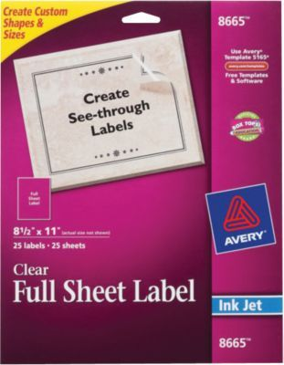 Avery® 8665 Clear Inkjet Full Sheet Shipping Labels, 8-1/2\