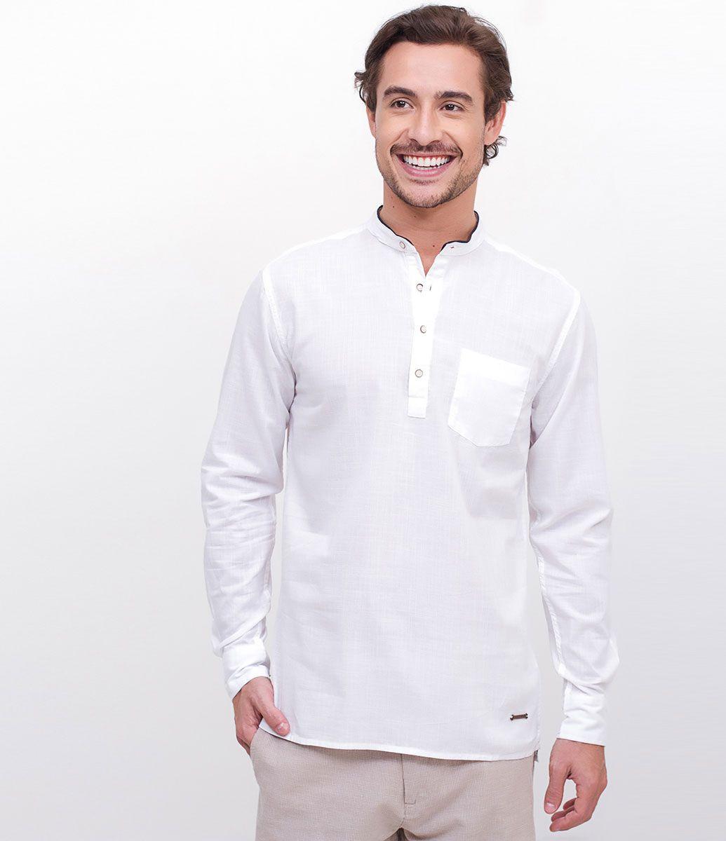 Camisa masculina Gola portuguesa Manga longa Com bolso Marca  Marfinno  Tecido  voal Composição  fb8bc6340c8ce