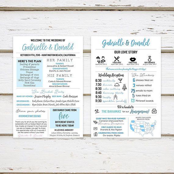 Printable Infographic Wedding Program Unique Wedding Program Fun