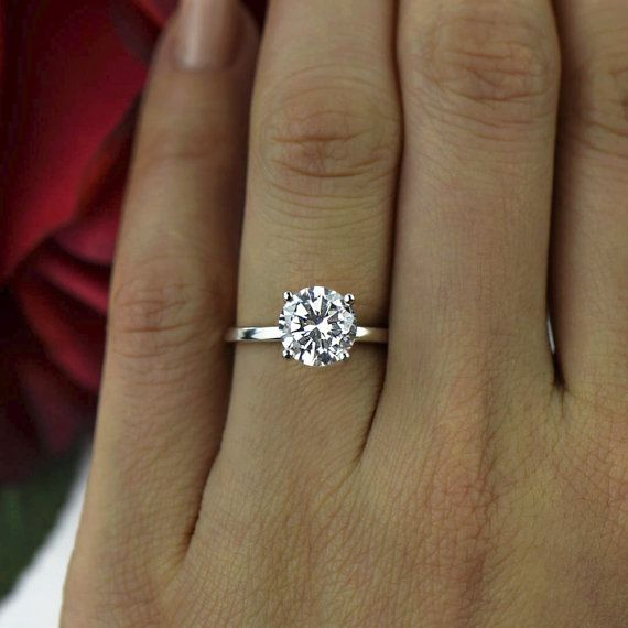 Sz 8 75 12 2 Ct 4 Prong Classic Solitaire Engagement Ring Man Made Diamond Simulant Wedding Bridal Ring Sterling Silver 40 Final Sale Classic Engagement Ring Solitaire Solitaire Engagement Ring Classic Engagement Rings