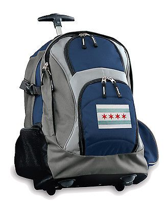 Chicago Flag Rolling Backpacks with Wheels BEST Wheeled Carryon Travel School Tr