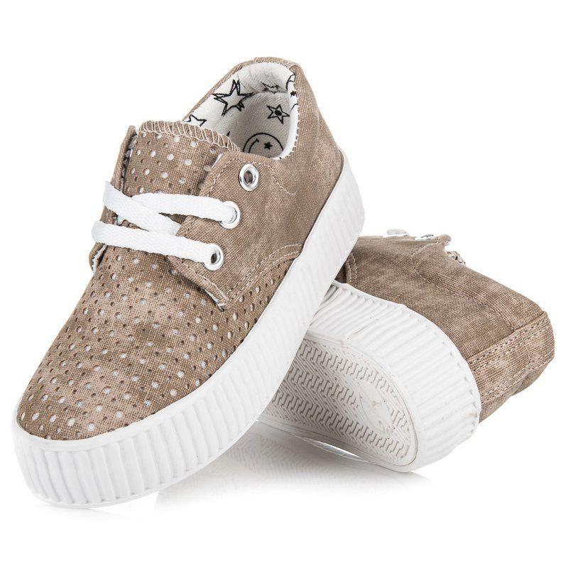 Trampki Dla Dzieci Kylie Kylie Brazowe Wiazane Trampki Na Platformie Winter Shoes Baby Shoes Shoes