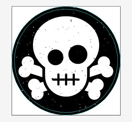 Create a skull crossbones sticker design in illustrator