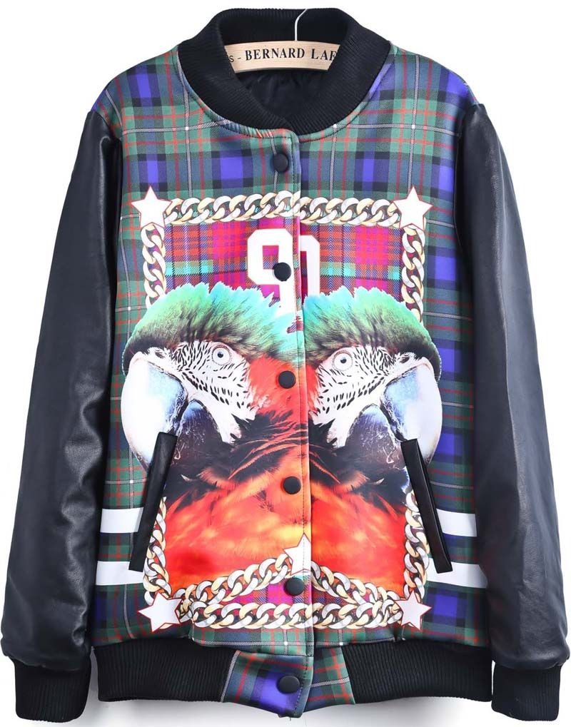 Black long sleeve parrot print jacket us recomendables