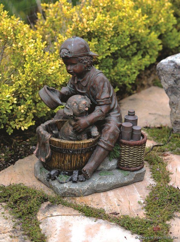 Etonnant Boy Bathing Dog Garden Fountain