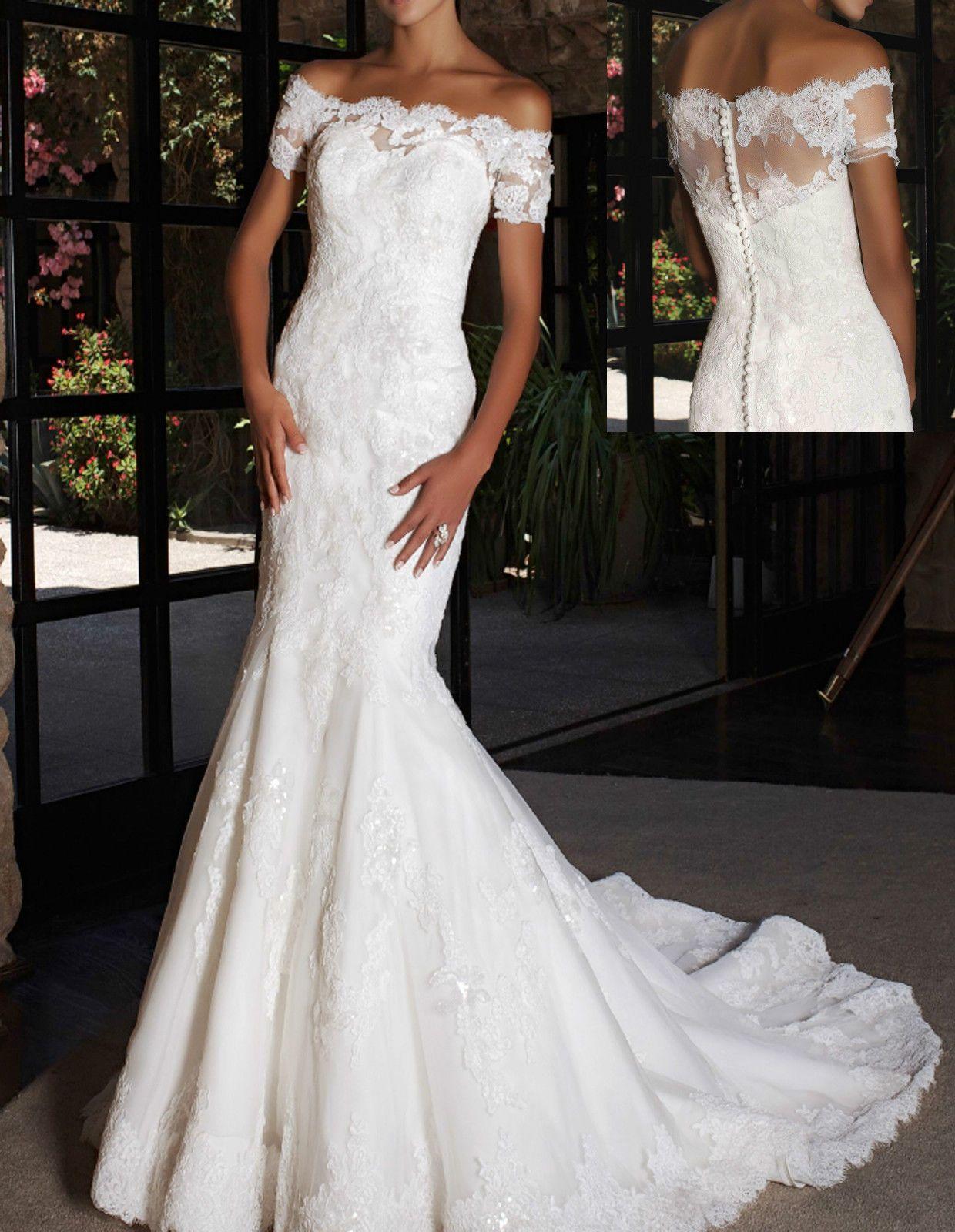 8356bfe0e6 Elegant Off-the-Shoulder White Lace Short Sleeve Mermaid Wedding Dress  Custom