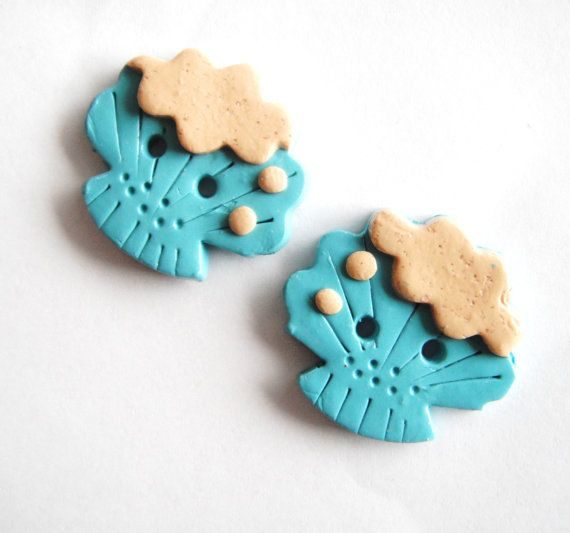 Button Twin Seashells handmade polymer clay by digitsdesigns, $4.75