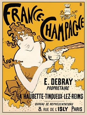 France Champagne By Bonnard 1894 France Beautiful Vintage Poster Reproductions This Vertical French Wine And Spirits Poster In Yellow Features A Woman Holding Vintage Posters Vintage Travel Posters Paris Poster