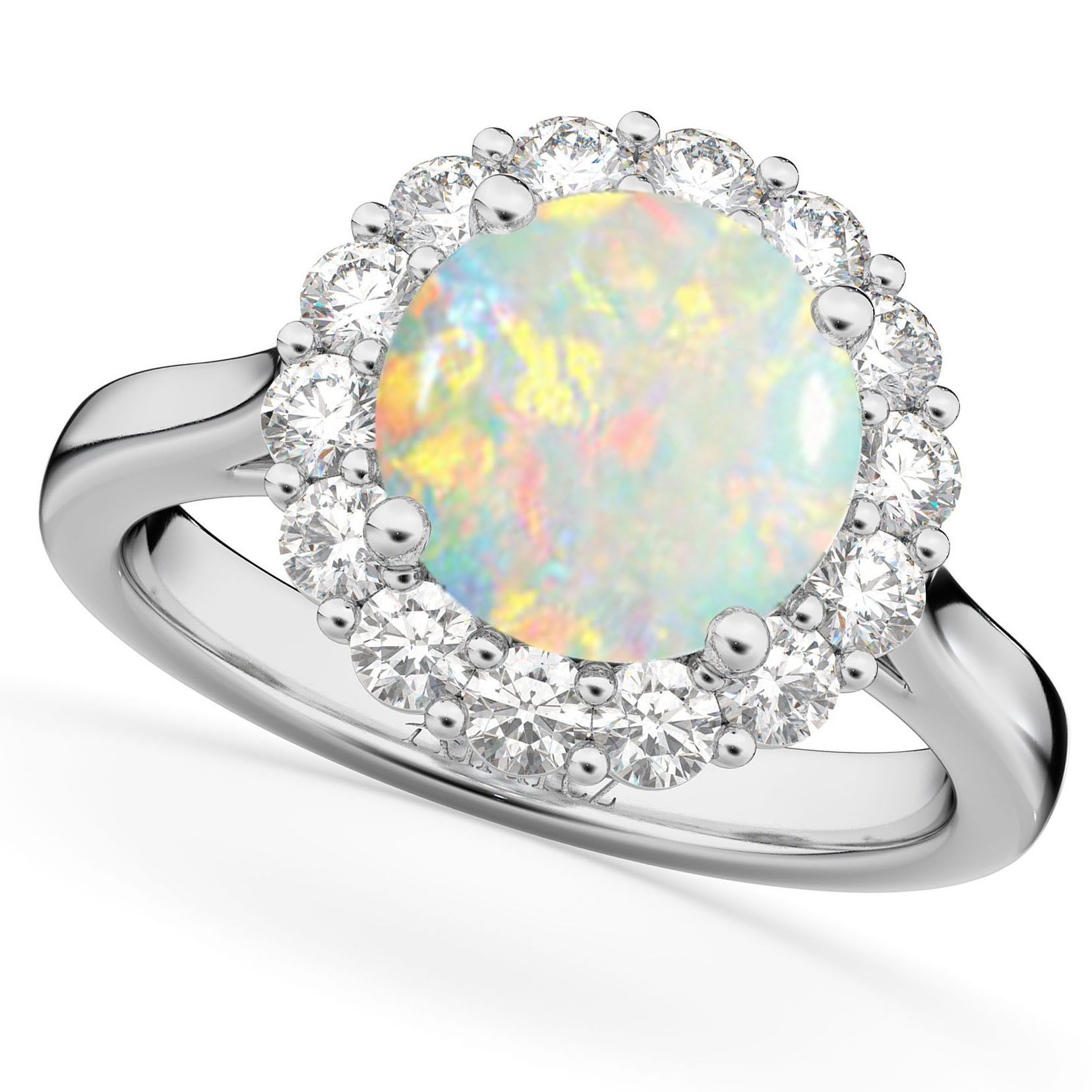 Halo Round Opal Diamond Engagement Ring 14k White Gold 2 30ct