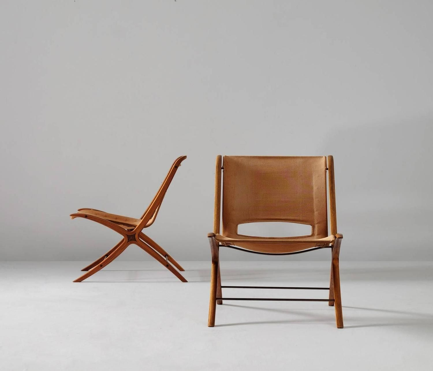 Pair of 'X' Chairs by Peter Hvidt