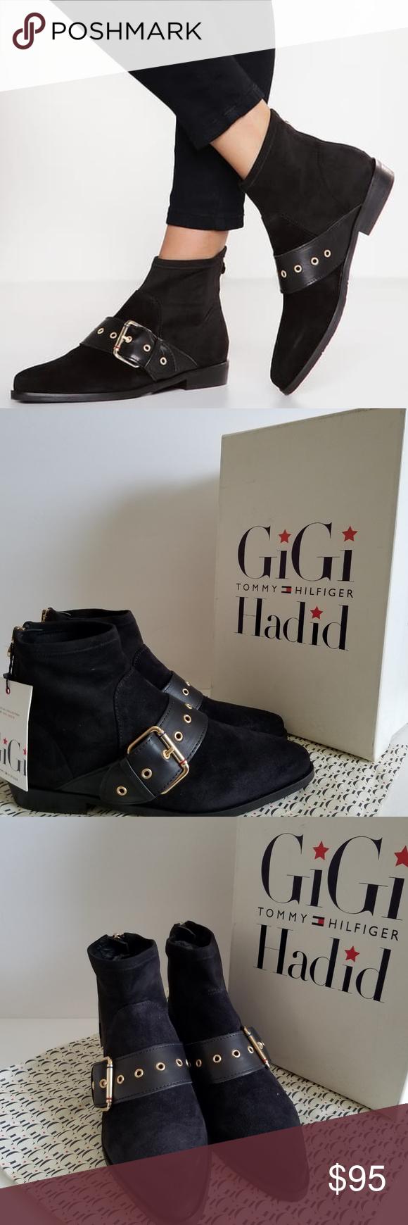 1c89486319cf Tommy Hilfiger GIGI HADID Black Ankle Flat Boots EUR Size 38 Original  Price   179.50 Material
