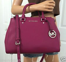 MICHAEL KORS PINK SUTTON MEDIUM SATCHEL SAFFIANO LEATHER TOTE HANDBAG PURSE BAG