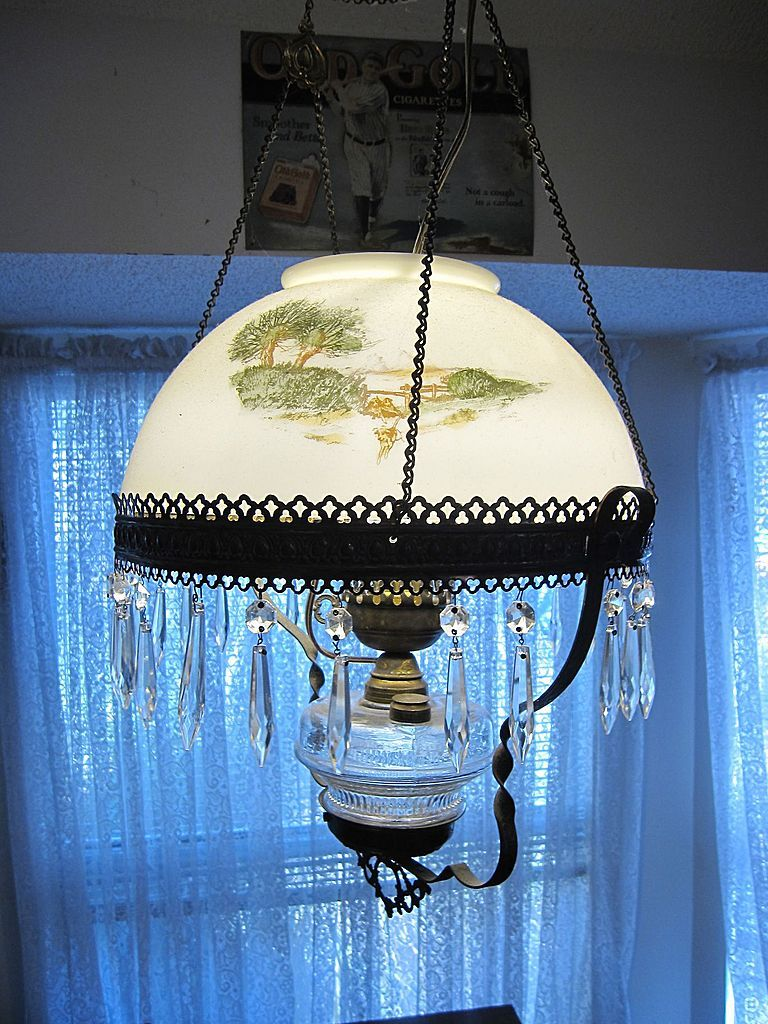 Antique Hanging Parlor Kerosene Oil Lamp Electric English Fox Hunt ...