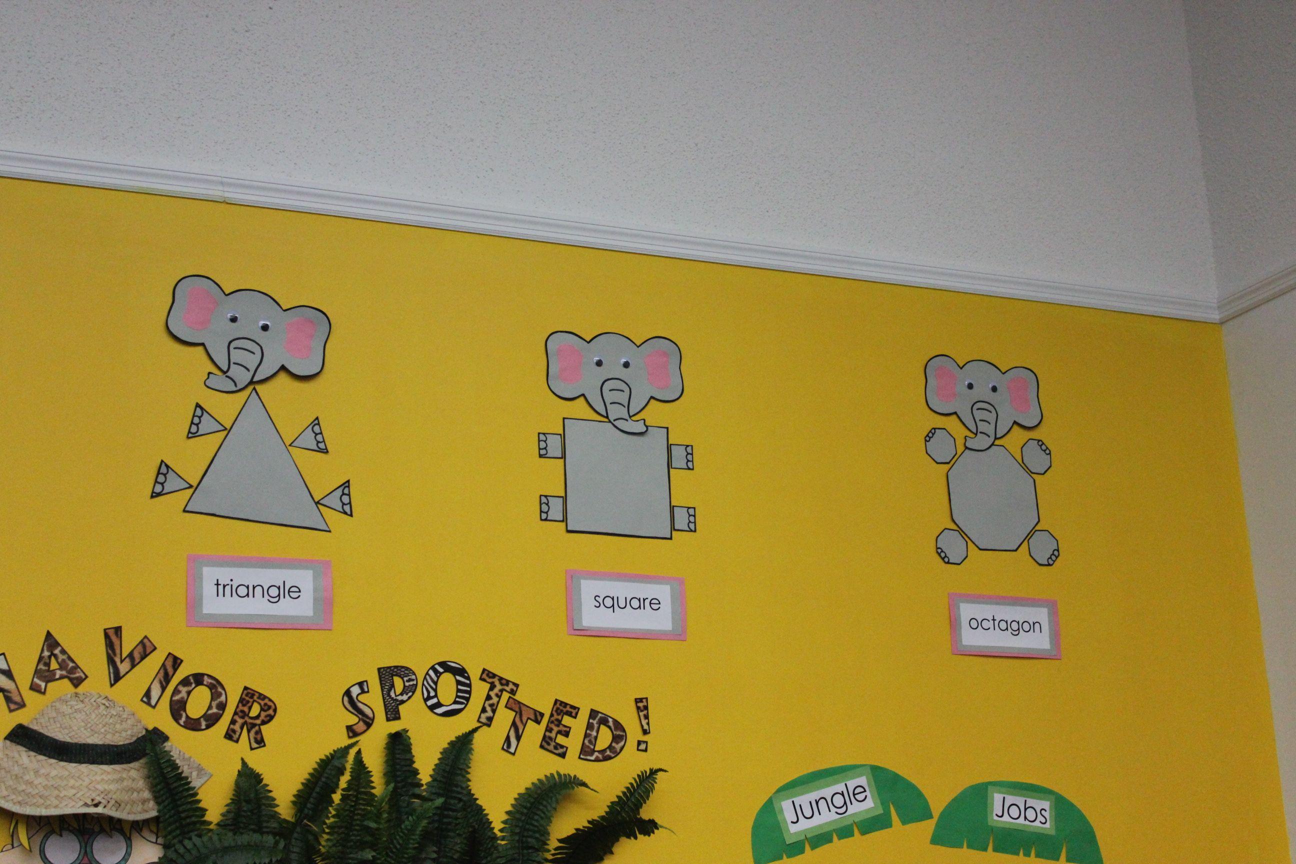 Jungle themed classroom- shape elephants   School Stuff ...
