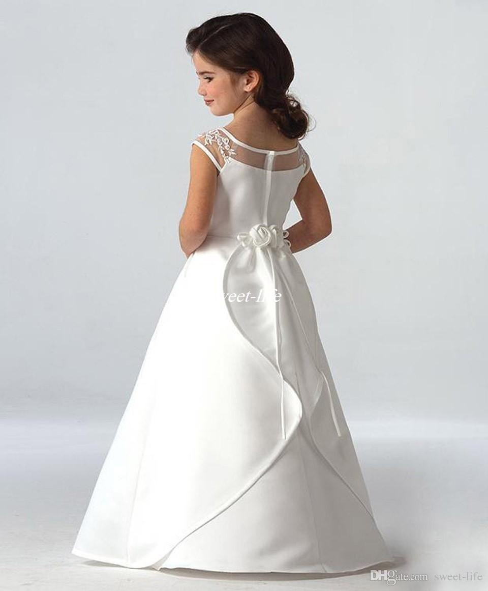 Cheap simple flower girls dresses for wedding cap sleeves satin