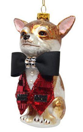Dressed Chihuahua Blown Glass Christmas Ornament