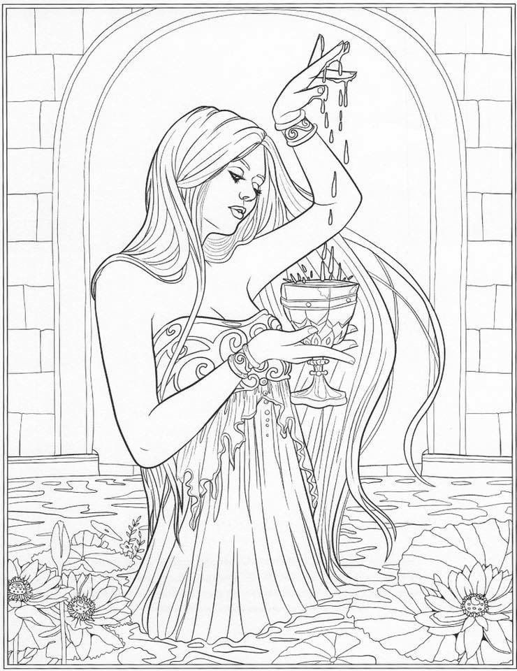 Lady In The Water Adult Coloring Page Free Adult Coloring