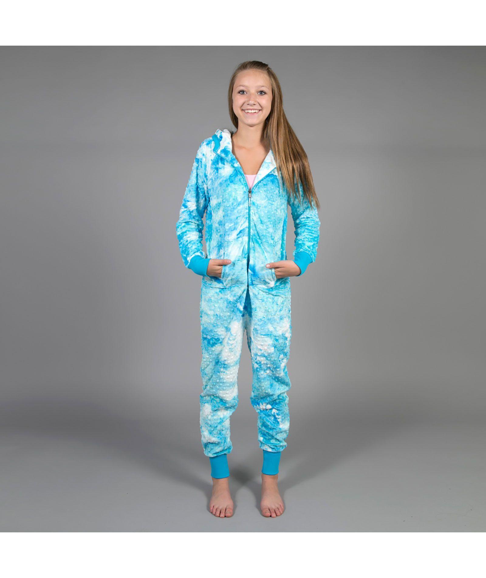 286c38bcd9f7 Triple Flip Girls Blue Radiance Tie Dye Minky Onesie