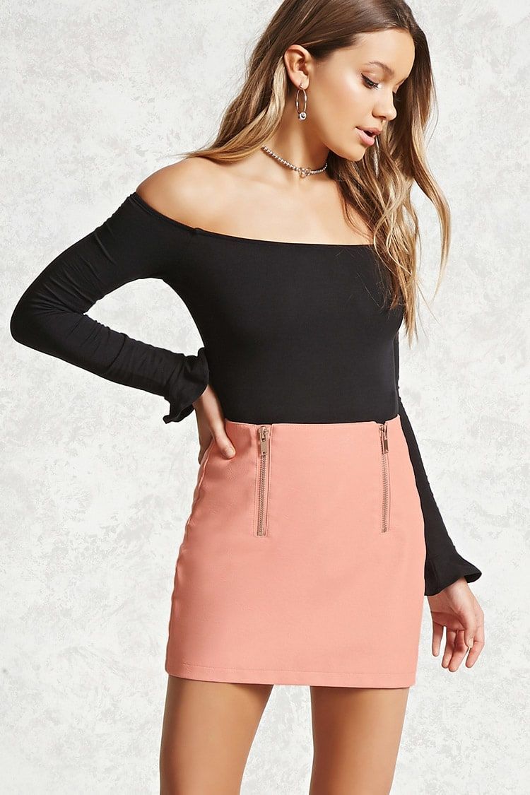 21917f889f Faux Leather Zip-Front Skirt | Forever21 | F A S H I O N . | Forever ...