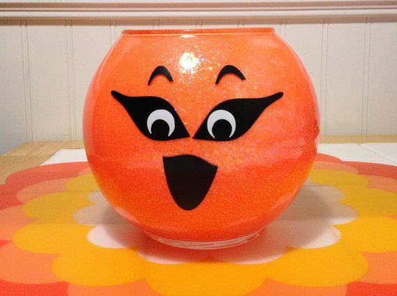 Glow In The Dark, Glass Pumpkin, Halloween Decor, Pumpkin Decor