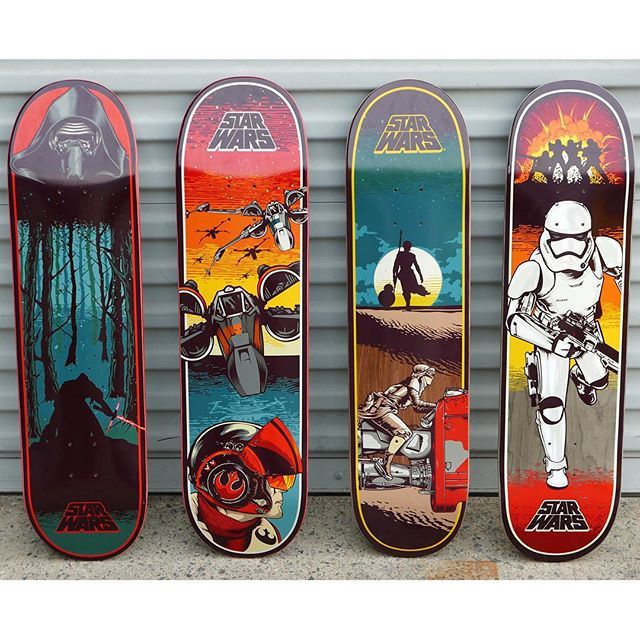 All New Force Awakens Decks By Santa Cruz Skateboard Design Skateboard Art Skate Punk