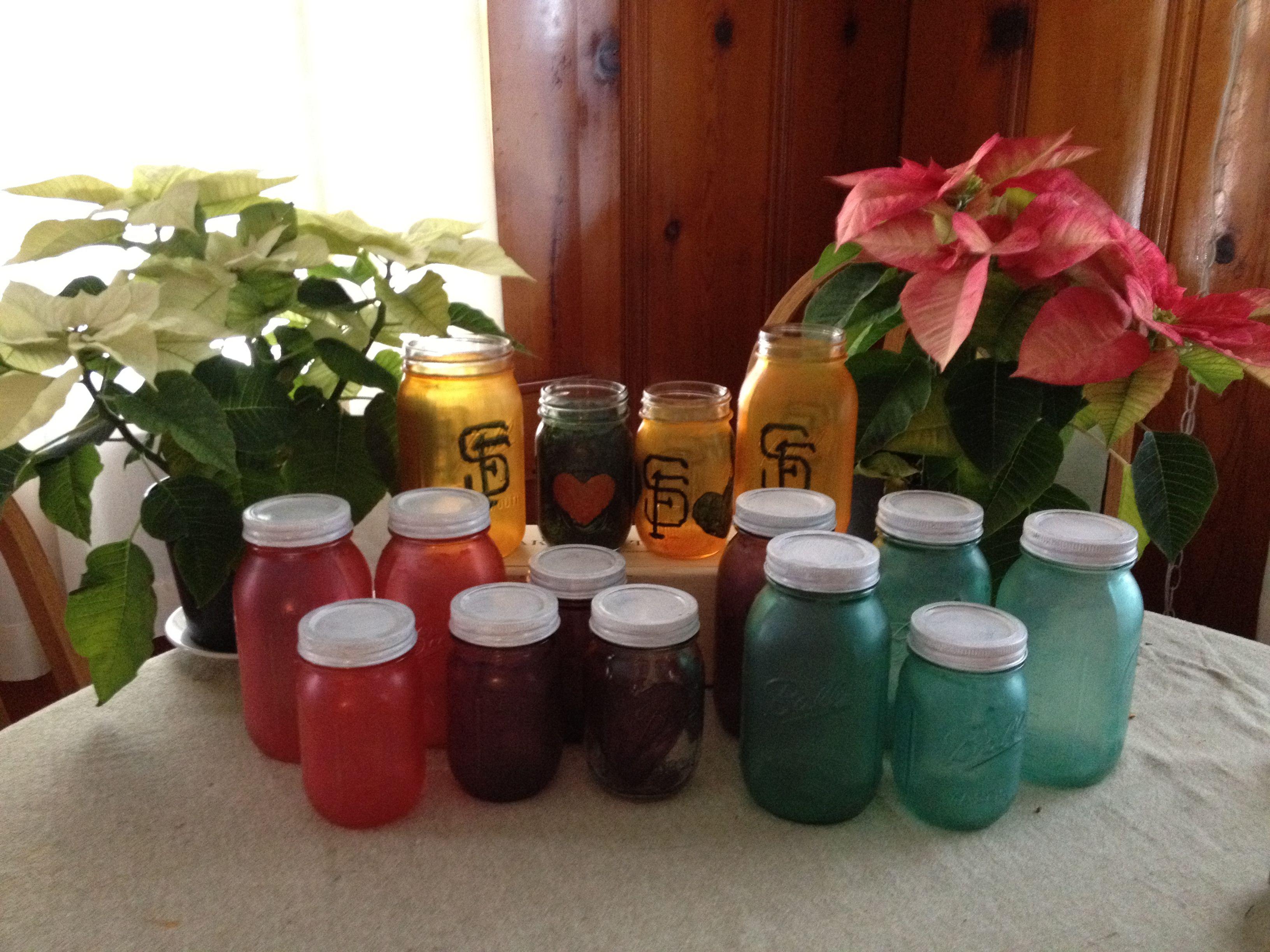 Food Coloring And Elmers Glue Painted On Mason Jars I