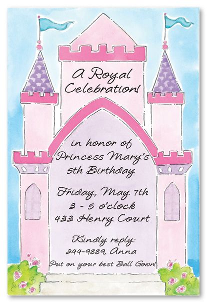 Princess Invitations Bright Lovely Pink Castle Invitation