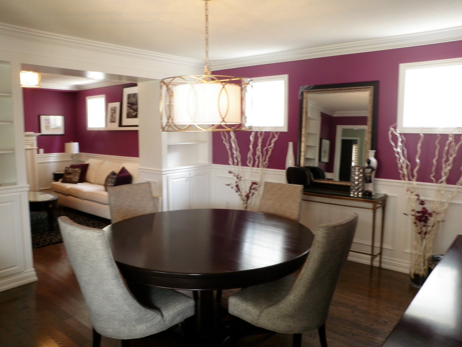 light medium plum accent wall color dining room. Black Bedroom Furniture Sets. Home Design Ideas