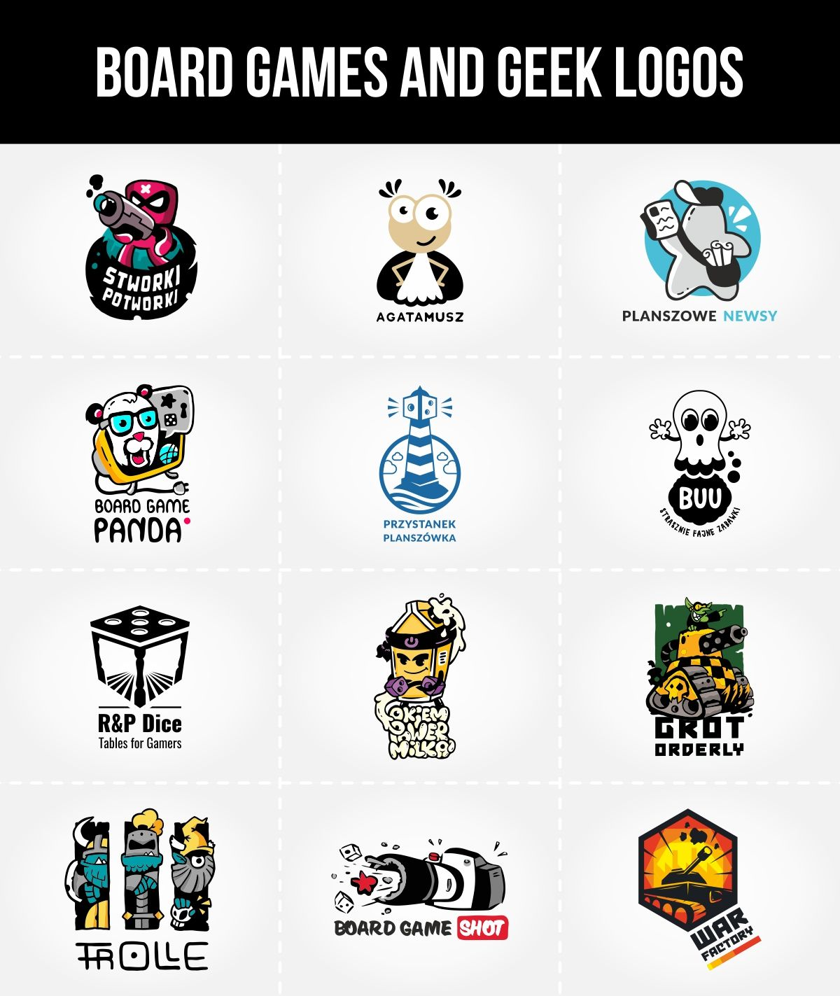 Logo for board game and geek publishers, shops and vlogs