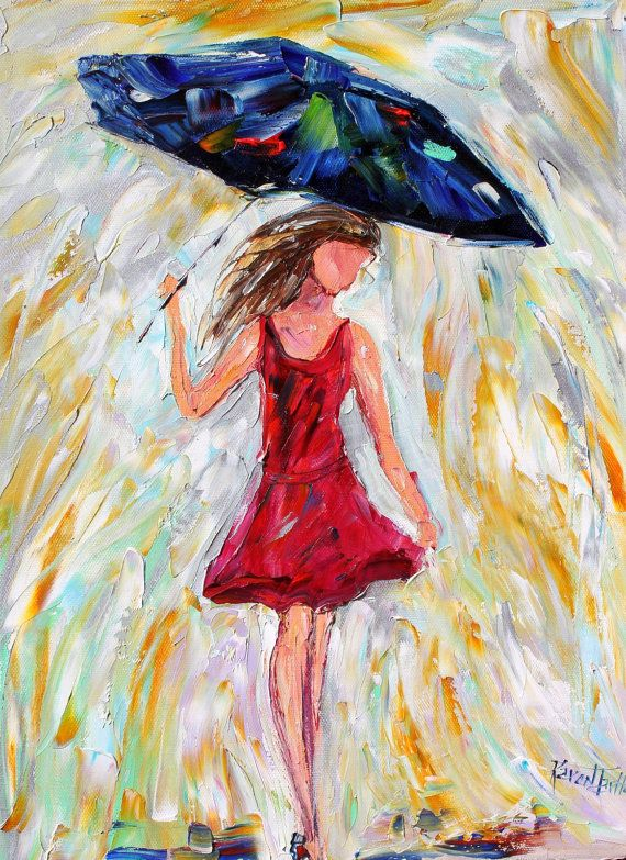 Original oil painting Rain Girl on canvas Landscape