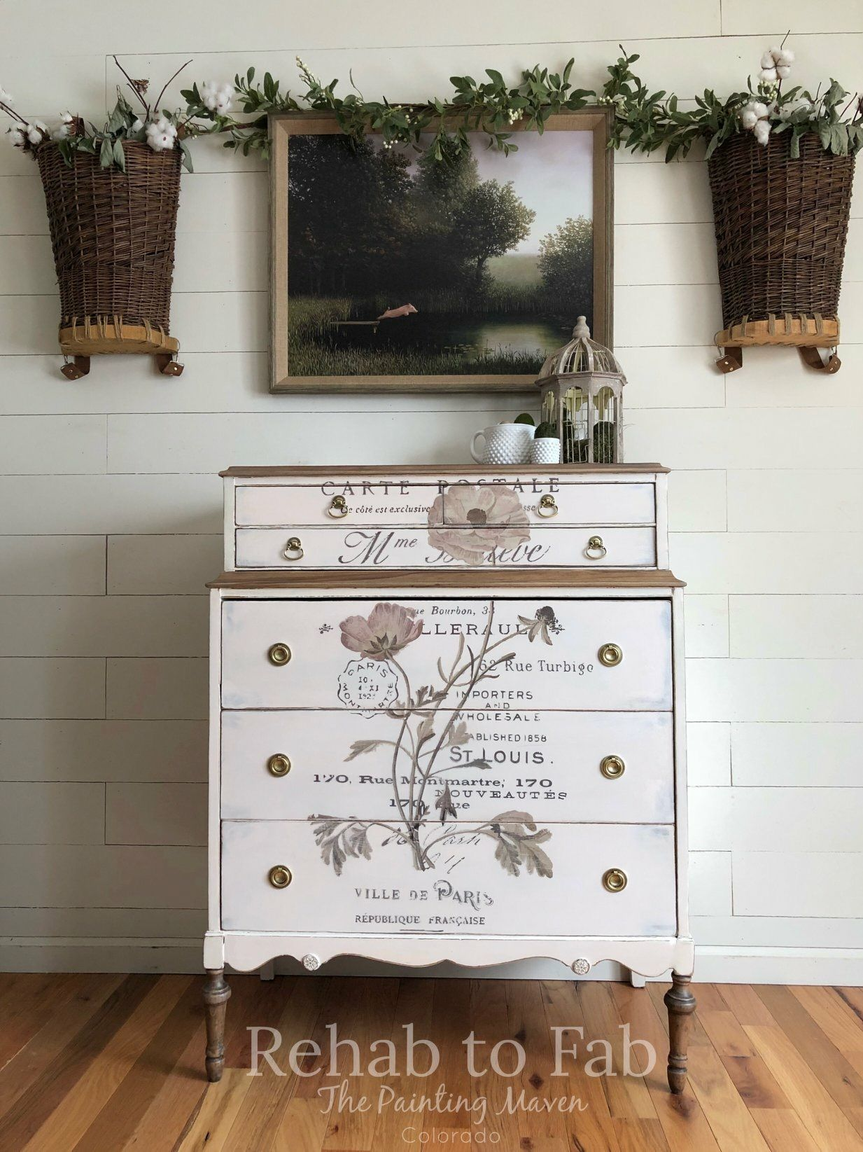 Blush Floral Antique Dresser Painted By Rehab To Fab. Re Design Collection  Transfers.