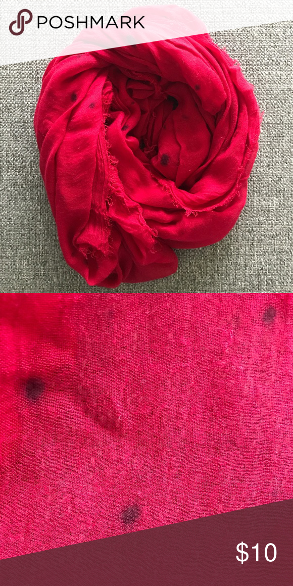 Zara Red Scarf Semi Sheer Gauzy Scarf From Zara Featuring A Bright Red Color And Dark Spot Details Frayed Trim In Good Used Condition Red Scarves Zara Scarf