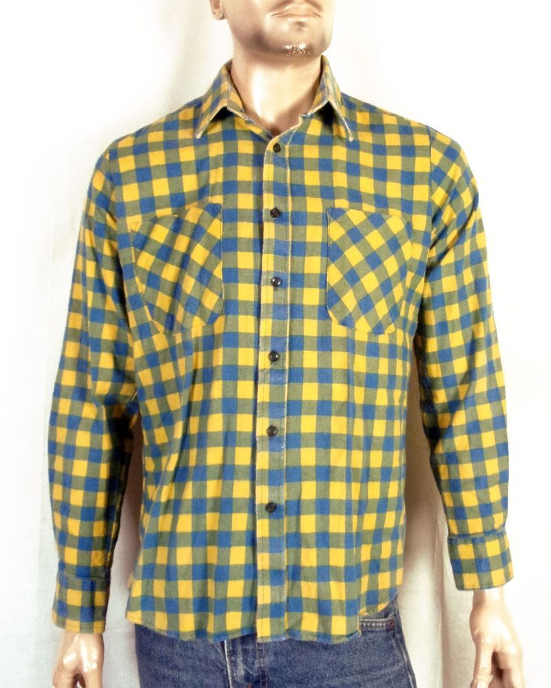 70s Blue and Yellow Flannel S
