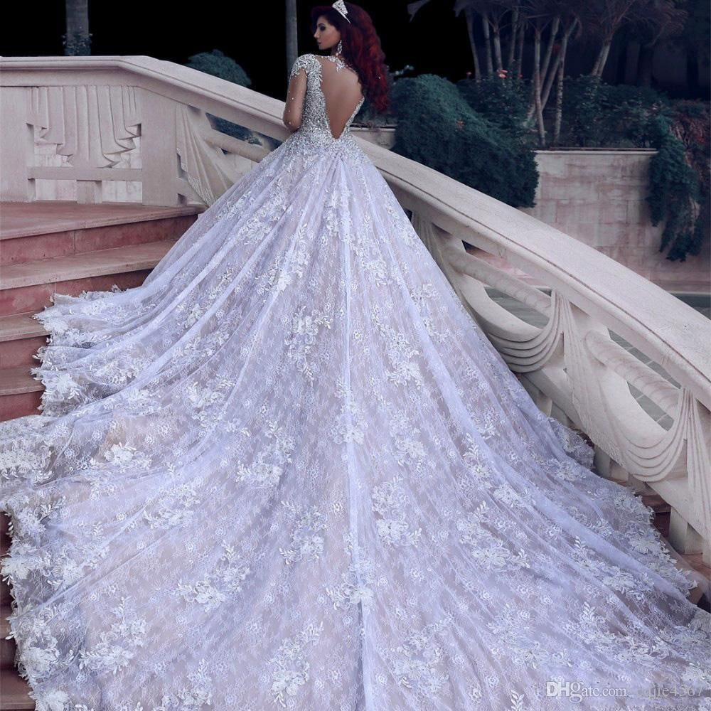 Discount 2020 New Turke Robe De Mariage Latest Luxury Beading Long Sleeve Muslim Wedding Gowns With Long Train Sequined Lace Wedding Dresses Bridal Shower Dress Wedding Dresses Lace Ballgown Wedding Dress [ 1000 x 1000 Pixel ]