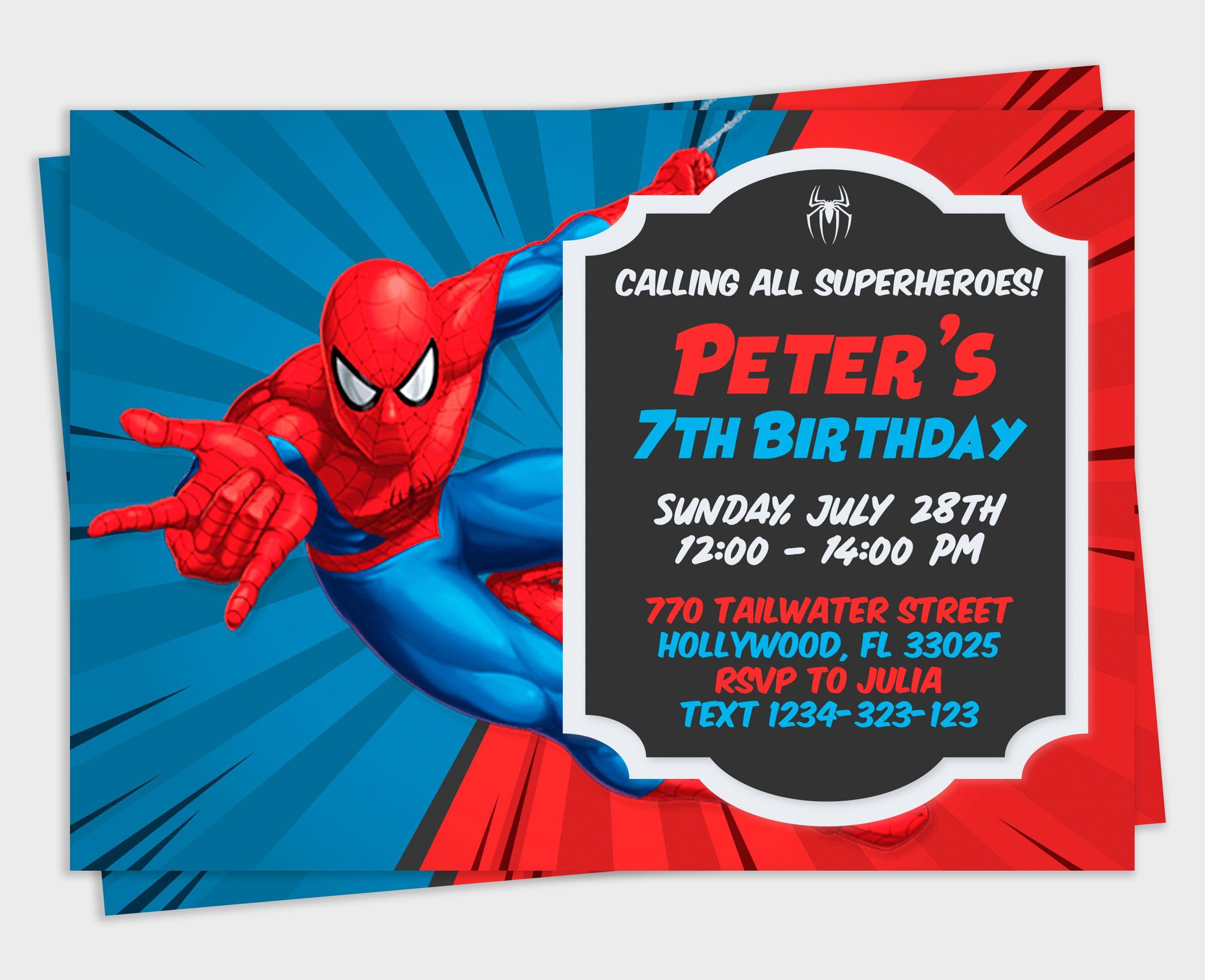 spiderman invitation spiderman party