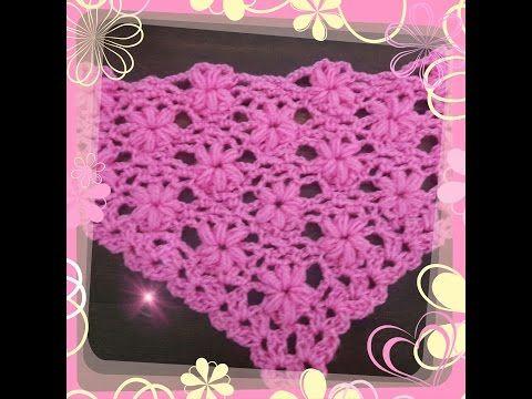 تعليم الكروشيه كروشيه شال او سكارف مثلث بغرزة الوردة البارزة Crochet Scarf Triangle 3d Shawl Youtube Crochet Scarves Crochet Tutorial Crochet Shawl