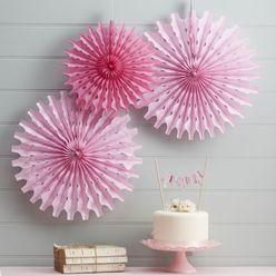 Papierrosette rosa - 3er Set