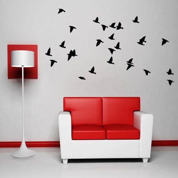 flock of birds wall decal vinyl sticker dining by happywallz