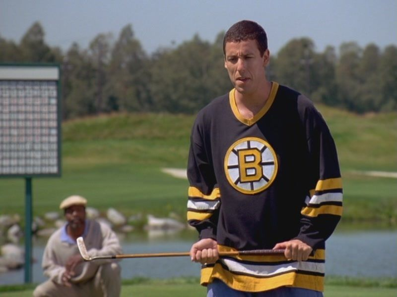 Bruins shirt + golf club + HORRIBLE swing = Happy Gilmore ...