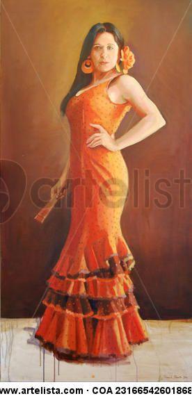Flamenco dancer.  Oleo sobre lienzo 160x80