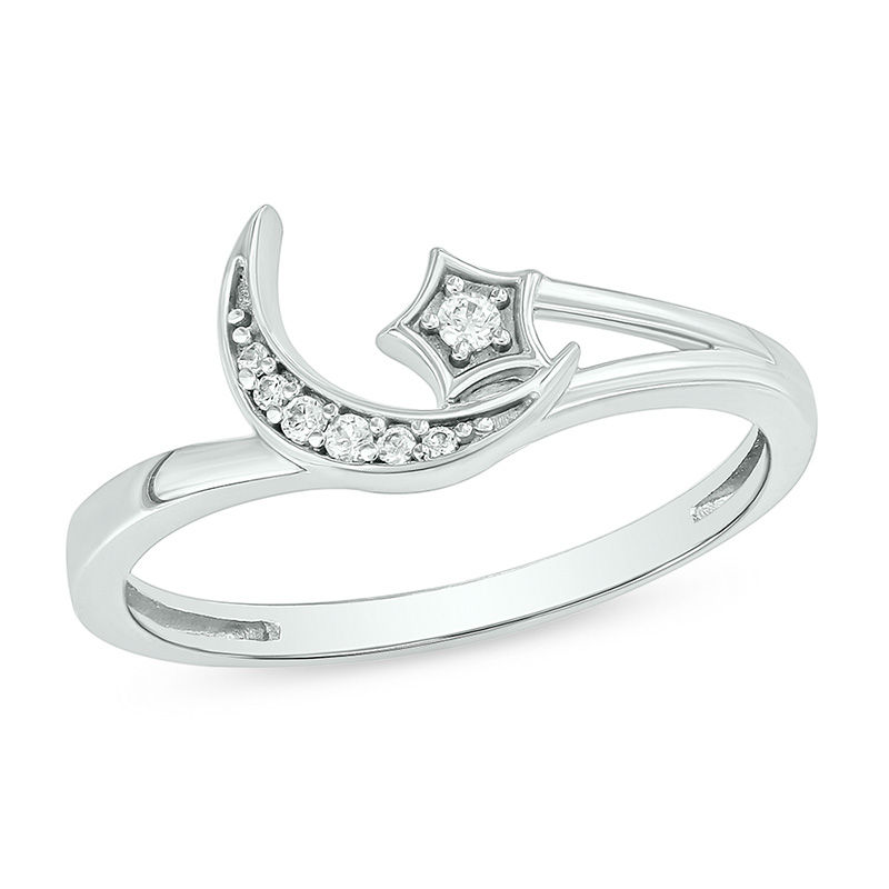 1 20 Ct T W Diamond Crescent Moon And Star Ring In 10k White Gold Zales In 2020 Moon And Star Ring Diamond Crescent Moon White Gold