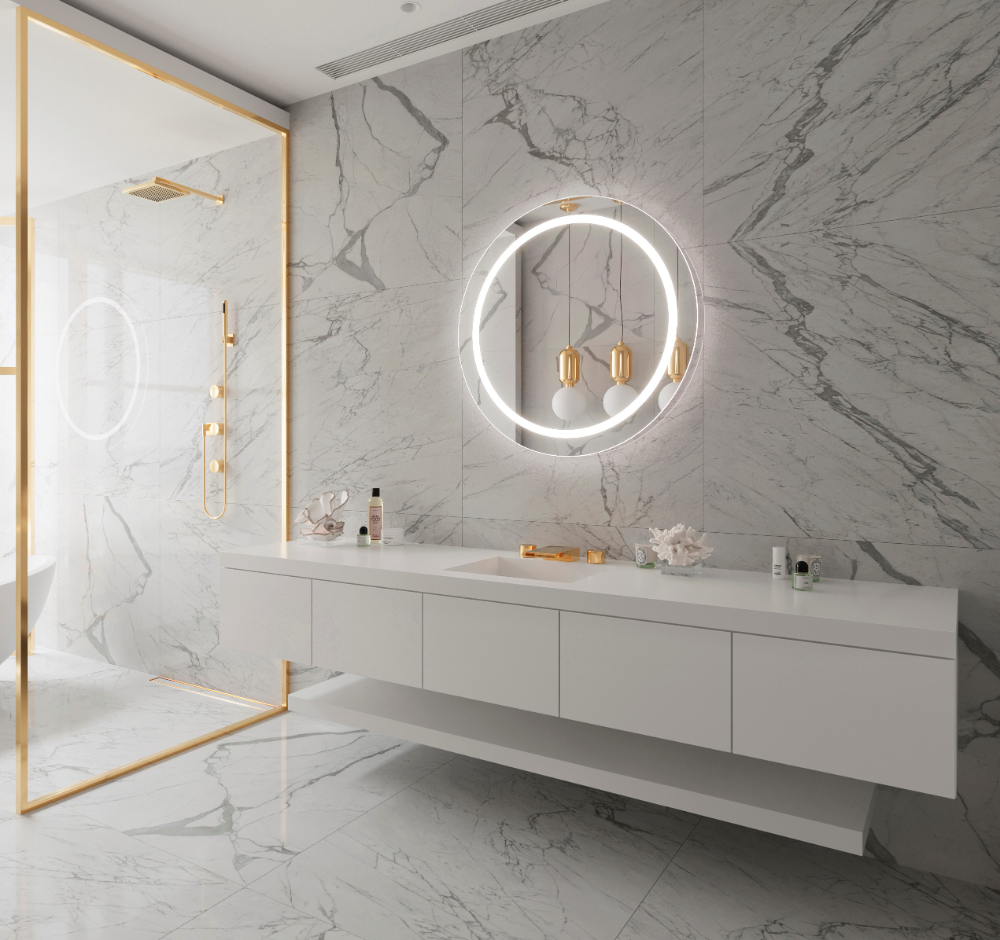 Dimmable Lighted Mirror Round Harmony 36 X 36 Backlit Mirror Mirror Bedroom Decor Backlit Bathroom Mirror [ 940 x 1000 Pixel ]