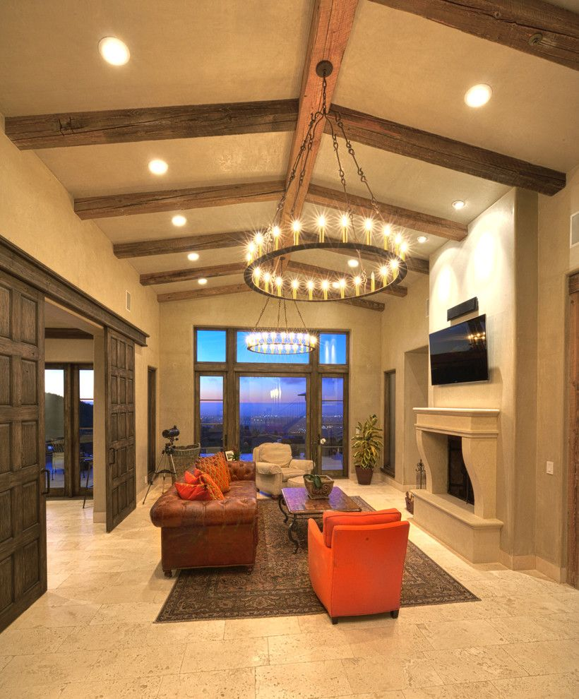 Elegant Living Room With High Ceilings, Orange Color For An Accent And A  Travertine Floor #travertine #floor #home #interior #naturalstone