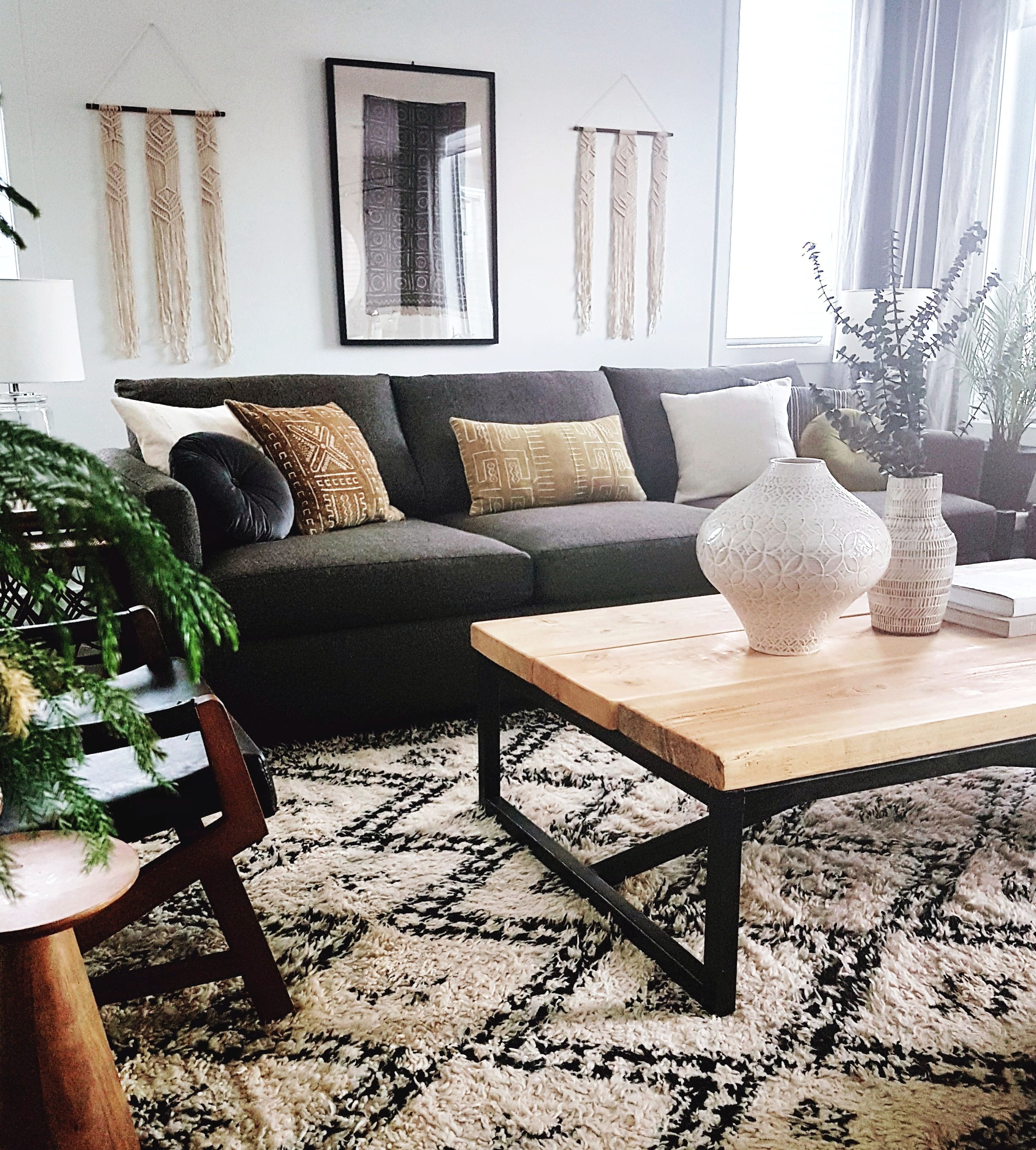 A Stunning Eclectic Spec Home In Edmonton House Call Diyfurniture Diy Furniture Diy Furniture L In 2020 Living Decor Black Couch Living Room Living Room Designs